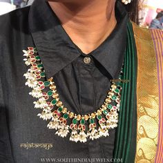 22 Guttapusalu Haram Designs That You Would Like To Grab on Sight! Latest Necklace Design, Necklace Designs, Jewellery Designs, Jewelry Patterns, Guttapusalu Haram, Indian Wedding Jewelry, Indian Jewelry, Simple Shirts, Traditional Sarees