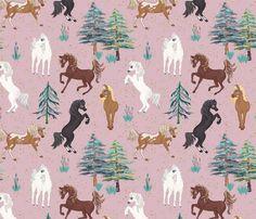 Arabian Horses in Pink fabric by koko_bun on Spoonflower - custom fabric My Design, Custom Design, Arabian Horses, Pink Fabric, Creative Business, Custom Fabric, Spoonflower, Cotton Canvas, Fabric Design