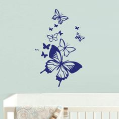 Wall Decals Designs use 3 different sheetscolors to create this look Butterfly Wall Decals Wall Decal Vinyl Sticker Decor Art Bedroom