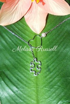 Silver Puzzle Piece & Heart Necklace , Autism Awareness, handmade jewelry, holiday, Christmas gifts, Valentines Day