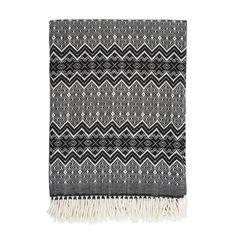 Plaid en pure laine motif ethnique noir By Nord - 130x180cm