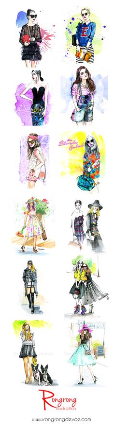 Fashion illustration, Rongrong DeVoe | How to draw a fashion blogger