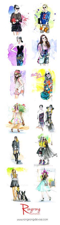 Fashion illustrations inspired by fashion bloggers by Houston fashion illustrator Rongrong DeVoe | www.rongrongdevoe.com
