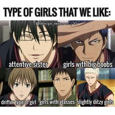 Touou's time! Are you their type?? XD Ahhh I think Imayoshi likes older too?? For sakurai's type- drifter: someone who doesn't conform to normal social standards, or who picks bits and pieces off from different cliques to create their own// but there's a lot of meaning to it so its up to you on how you interpret it. XD  For Wakamatsu- Ditzy means basically acting really dumb and innocent. Not really knowing what is going on. . . . I'm not their type.. XD . .from their character bible book so…