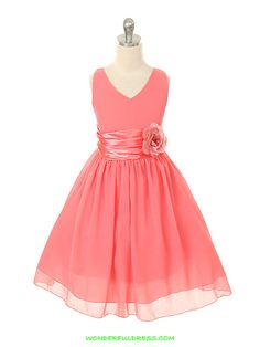 Coral Chiffon Flower Girl Dress. OMG, so cute. Flower girl wearing a matching color to bridesmaids' dresses