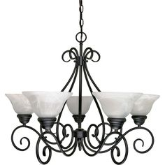 Beautify your home decor with the Fleur De Lis Living Claycomb 5 Light Chandelier. Its artistic design features a dark-finished base with astounding swirls and five alabaster-finished, bell-shaped glass shades. Hanging Chandelier, Candle Chandelier, 5 Light Chandelier, Chandelier Shades, Bronze Chandelier, Light Texture, Glass Texture, Transitional Chandeliers, Glass Candle