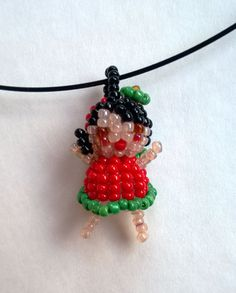Strawberry Girl Seed Bead Doll Beaded Bead Pendant Necklace