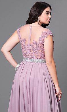 d3ef85a0145 Cap-Sleeve Long Plus-Size Prom Dress with Lace