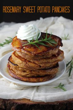 Whole Wheat Rosemary Sweet Potato Pancakes with Brown Butter Maple Bourbon Sauce