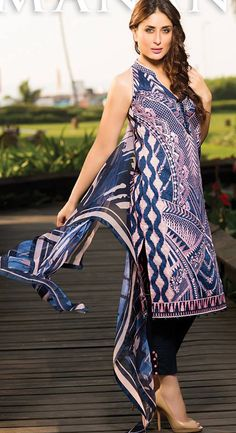 Buy Blue Embroidered Cotton Lawn Salwar Kameez by Cresent Lawn Collection 2015.