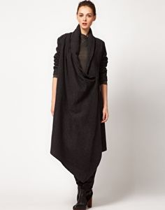 Improvd Wool Coat With Draped Collar