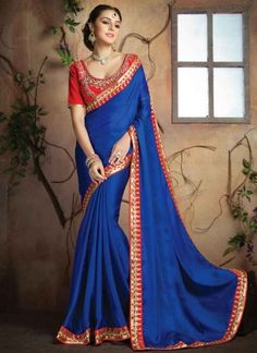 Magnetic Blue Embroidery Lace Border Stone Work Georgette Designer Sarees #Sarees #Designer  http://www.angelnx.com/Sarees