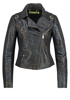Versace Jeans Leather jacket - black - Zalando.co.uk