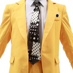 Buy XCOSER Jim Carrey Costume Yellow Long Suit with Stylish Tie Halloween Costume at online store Up Costumes, Cosplay Costumes, Halloween Costumes, Happy Halloween, The Mask Costume, Costume Box, Jim Carrey, Blazer, Suits