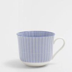Image of the product Blue scored porcelain breakfast cup
