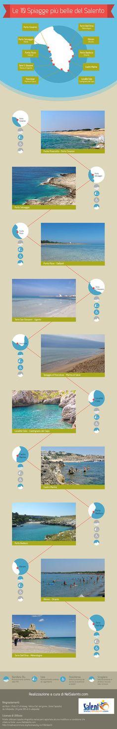 Le 10 spiagge più belle del Salento, Puglia su http://www.nelsalento.com/blog/spiagge-belle-del-salento-infografica/
