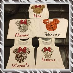 Animal kingdom inspired Mickey/Minnie head shirts  What a cute shirt for your entire family!   In notes to seller please indicate style of