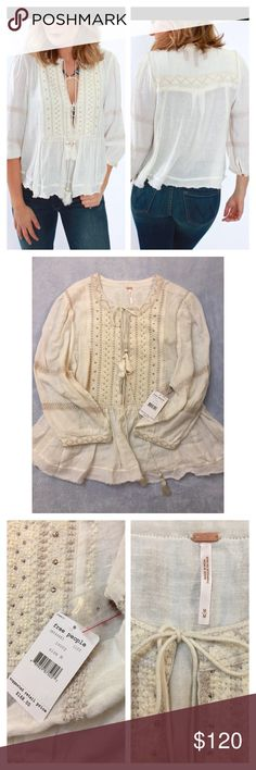 Free People Wild Life Embroidered Top NWT. Size Medium. Ivory color. Free People Tops Blouses
