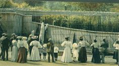 Watching the polar bears. London Zoo, 1900.