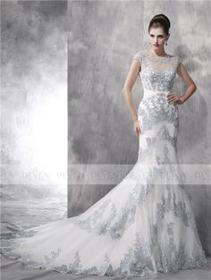 Short Sleeve Sheer Beaded Neck Blur Embroidery Lace Mermaid Gown