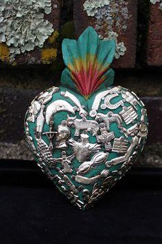 Sacred Heart Green Wood Milagro covered, Folk Art Michoacán Mexico, Love Token