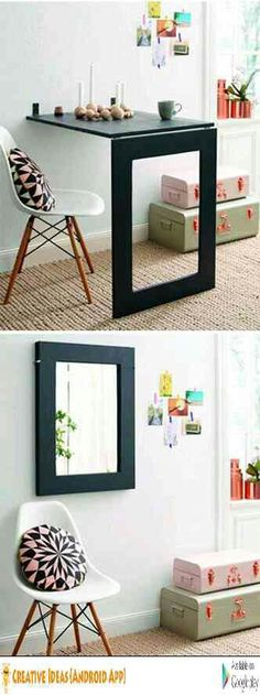 Attractive Mirror turns into a fold out table. Simple to make.