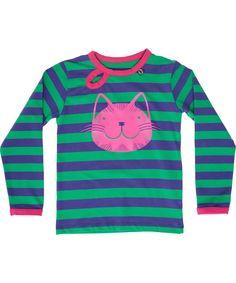 Danefæ mooi paars-groen gestreepte t-shirt met fluo kat. danefae.nl.emilea.be