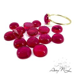 1pcs 8mm Lab Created Ruby Round Shape Cabochon Smooth by AoryNL