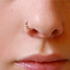 14k Solid Gold Nose Ring - Small Embellished Hoop ($32) ❤ liked on Polyvore