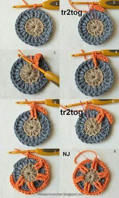 Circles of the Sun Mystery CAL 2015 - overlay crochet - Block 5 crochet pa. - Circles of the Sun Mystery CAL 2015 – overlay crochet – Block 5 crochet pa… – Manda - Motif Mandala Crochet, Crochet Square Patterns, Crochet Circles, Crochet Motifs, Crochet Blocks, Freeform Crochet, Crochet Squares, Crochet Designs, Knitting Patterns