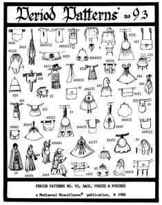46 Medieval - Renaissance Purses, Pouches, Bags Pattern in Crafts, Sewing & Fabric, Sewing Costume Renaissance, Medieval Costume, Renaissance Fair, Medieval Gown, Historical Costume, Historical Clothing, Costume Patterns, Sewing Patterns, Bag Patterns