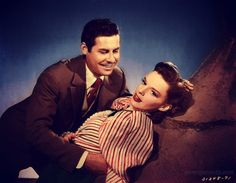 "John Hodiak and Judy Garland publicity shot for MGM's ""The Harvey Girls"" 1945 Hollywood Cinema, Old Hollywood Movies, Hollywood Glamour, Classic Hollywood, Judy Garland Liza Minnelli, Harvey Girls, Esther Williams, Turner Classic Movies, Gene Kelly"