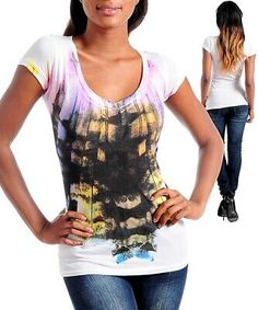 Pretty watercolor print and v-neck. White cotton/modal v-neck tee shirt top. Casual Jeans, Jeans Style, Casual Outfits, Fashion Outfits, Jeans Fashion, Shirts & Tops, Tees For Women, Clothes For Women, Native American Fashion