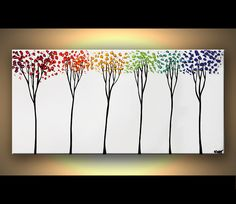 ORIGINAL Abstract Contemporary Blooming Tree Acrylic Painting Heavy Palette Knife Texture by Osnat Ready to Hang. $365.00, via Etsy.