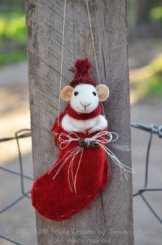 Wee Mouse in Christmas Sock - Needle Felted Ornament - Felting Dreams by Johana Molina - READY TO SHIP