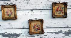 Antique Miniature Lithograph set of 3 Florals