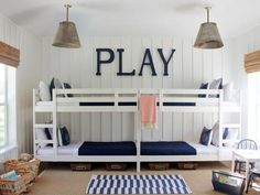 Design Chic: Bunking Up - love a bunk bed and the bamboo blinds and pendant lights are wonderful!
