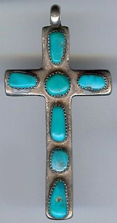 Horace Iule Vintage Zuni Indian Sterling Silver Turquoise Cross Pendant | eBay