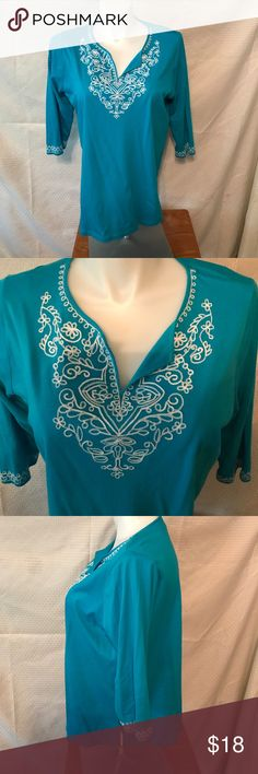 Jones New York sport woman size 1X turquoise tunic This is a great Jones New York sport woman size 1X turquoise tunic. Three-quarter sleeve notice the embroidery. Looks great with a pair white slacks. Jones New York Tops Tunics