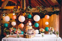 Like this table - Except with lots of the rustic bottles, few flowers and maybe the cake. Also I love this cake. AND where the pom poms are hanging, have some of the wicker hearts hanging down...