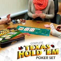 Bring the poker tournament right to your home! Product Information The Excalibur Texas Hold'Em Poker Set gives you everything you need to create an official poker night! Your friends and family will love this complete Texas Hold'Em set. It comes with a set of poker chips, two decks of professional playing cards, and a handy Texas Hold'Em felt which lets you conveniently place the Flop, River, and Turn as you play.