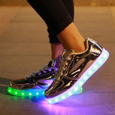 2026d78807d1 Boutique 2016 Hot 11 colors Fashion Casual Unisex Shining Shoes With LED  Laser Leather Surface Gold Silver USB Light Up Shoes For Adults