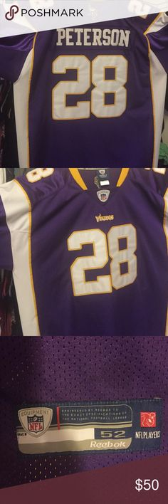 NFL Adrian Peterson Onfield Home Jersey NFL Adrian Peterson Onfield Home Jersey. Perfect Condition. Barely worn NFL Shirts