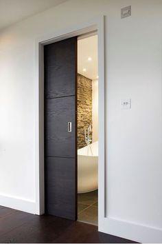 bathroom grey master bath, pocket door (do it grey. Sliding Bathroom Doors, Internal Sliding Doors, Sliding Door Design, Modern Sliding Doors, Internal Doors Modern, Bathroom Pocket Door, Sliding Door Room Dividers, Sliding Pocket Doors, Modern Door