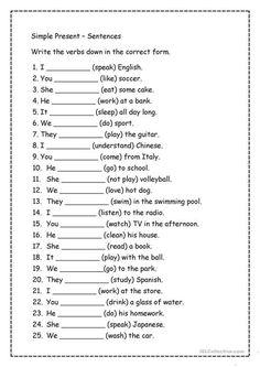 English Grammar Exercises, English Grammar For Kids, Teaching English Grammar, English Worksheets For Kids, English Lessons For Kids, English Verbs, English Writing Skills, English Language Learning, Verb Worksheets
