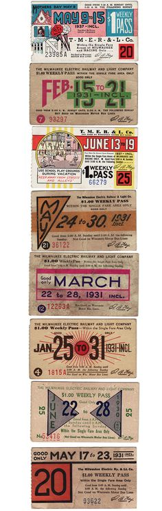 Vintage bus passes from the 1930's & 1940's  //  #Vintage #GraphicDesign #Inspiration