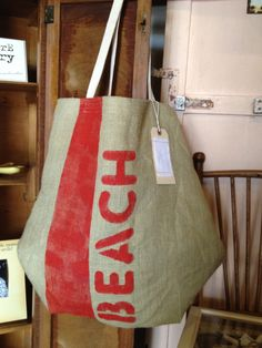 Handmade Burlap Beach Tote Bag with Red ink