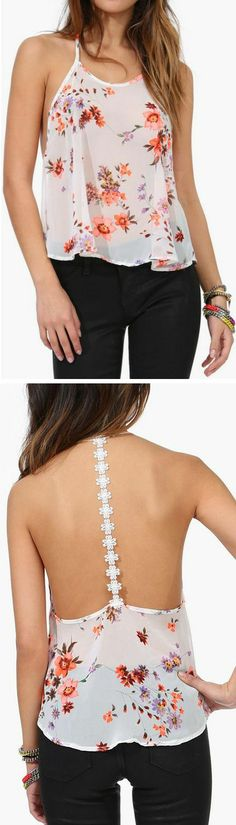 WAY too young for me, but so cute. Floral Backless Tank
