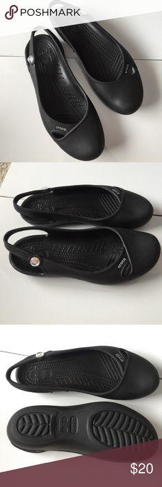 2c451573408629 Black Sling Back Crocs Gem Stone on the side of each shoe CROCS Shoes Flats    Loafers