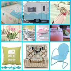 What a sweetie pie! I love this tin can Glamper! The wicker picnic basket is darling! The chenille blanket #swoon!  Polka dot pillows, a pink Vespa and retro tulips chairs. Niiiice! https://www.facebook.com/groups/GlampingDolls/